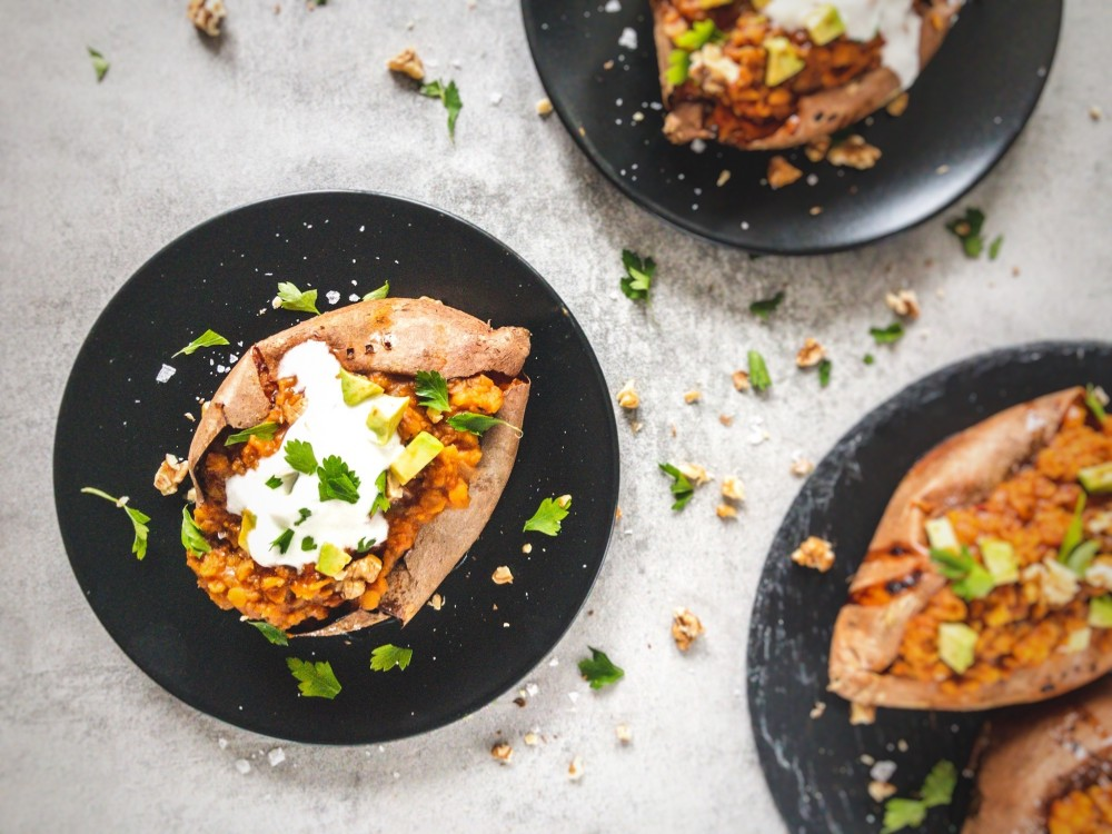 Stuffed Sweet Potatoes with Smoky Lentil