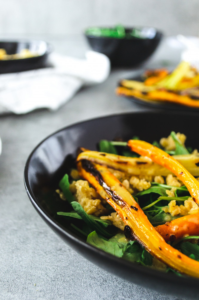 Roasted Carrot Salad with Tahini and Lentils